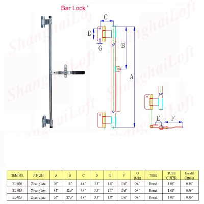 bar lock, cam lock, trailer door parts, trailer handware parts, truck handware parts,truck locks, truck latch, trailer hinges - bar lock, cam lock