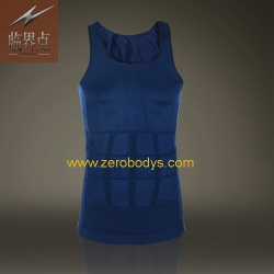 ZeroBodys Mens Body Shaper Singlet (Blue) - 107