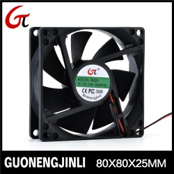 Manufacture selling 12V 8025 dc cooling fan with large air flow for notebook cooler - GNJL8025