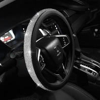 Lilancrystal Auto Car Steering Wheel Cover PU Leather w/ Cool Bling Rhinestone 38cm steering wheel cover - LIS-001