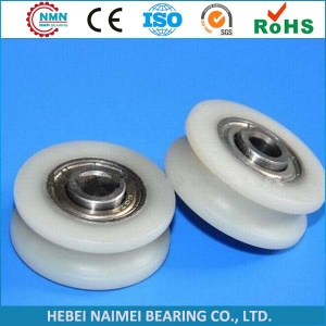 plastic roller bearing pulley with bearing v u groove convex - plastic roller
