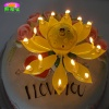 Double-deck rotating-lotus flower musical candle - BH-AXS22