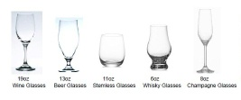 19oz wine glasses,13oz beer glasses,11oz stemless glasses, 6oz whisky glasses, 8oz champagne glasses - HSL-WG