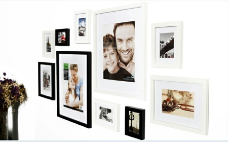 Modern Wooden Photo Picture Frame Wall Mounted Set Wall Collage Wall Sticker Set of 10 Black&White Home Wall Decor - YB-SL